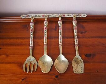 Vintage brass kitchen set. Hanging utensils set.