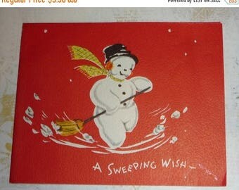 ON SALE till 7/28 Adorable Sweeping Snowman Vintage Christmas Greeting Card