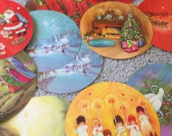 Festive All Around Vintage Circular Christmas Cards