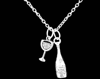 Gift For Her, Wine Glass Neclace, Wine Bottle Necklace, Best Friend Gift, Bridesmaid Gift, Christmas Gift, Charm Necklace