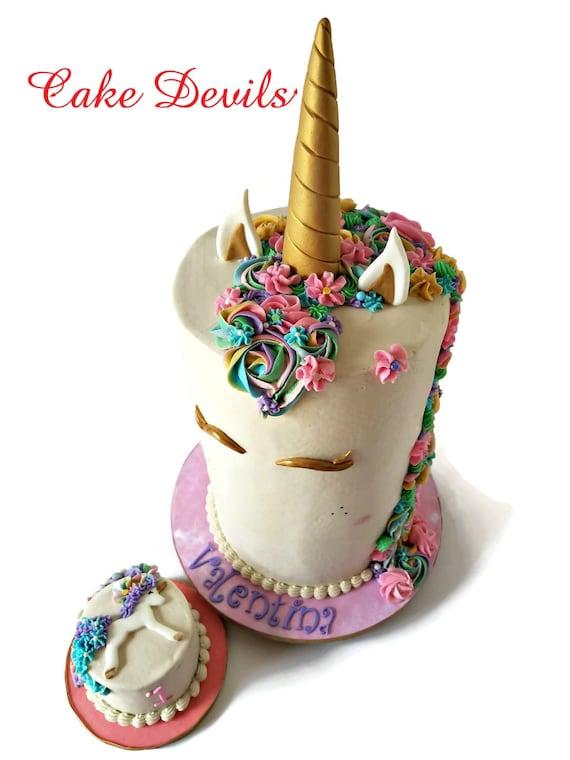 Silver Unicorn Horn Cake Topper