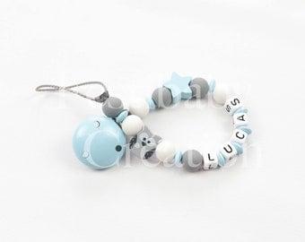 """Attache tétine personnalisée en perles silicone - modèle """"Lucas"""""""