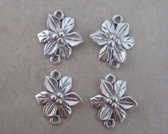4 sterling silver flower link connector