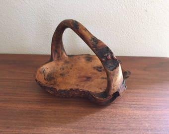 Hand-Carved Wooden Basket