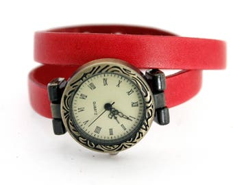 Coral leather bracelet watch two laps adjustable with brass dial