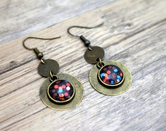 Earrings Bohemians polka dot coral and turquoise - cabochon