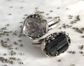 Raw Black Tourmaline Ring, Herkimer Ring, Herkimer Diamond Ring, Raw Tourmaline Protection, April Birthstone Tourmaline Ring, Raw Crystals