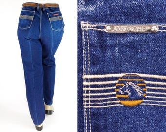 80s High Waisted Jeans 36, Vintage Jordache Blue Jeans Straight Leg, Plus Size High Waist Mom Jeans, Embroidered Denim, 80s Jordache Jeans