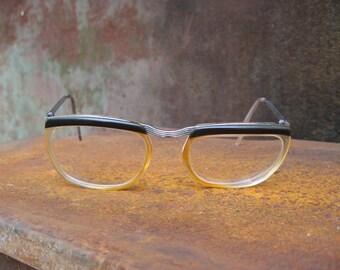 1950s Browline Eyeglasses. French geek glasses, original vintage mid century eyewear, brown screwed tops & clear frame, silver metal arms