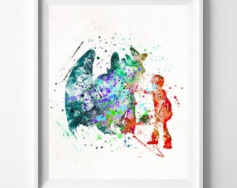 How To Train Your Dragon, Hiccup Print, Hiccup Watercolor, Gift Idea, Disney Poster, Pixar Poster, Night Fury, Bedroom Decor, Dorm Art