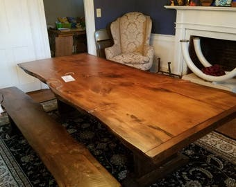 Rustic live edge trestle table