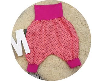 Baby, Mitwachsen trousers, harem trousers, harem pants, pants, baby pants, flowers, floral, girl, orange, pink, flower