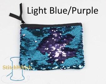 Light Blue & Purple Reversible Sequin Clutch