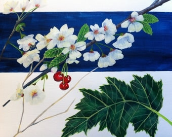 Art painting / botanical / cherry branch / flowers nature/cherry/white floral /fruits flowers / painting / modern art.