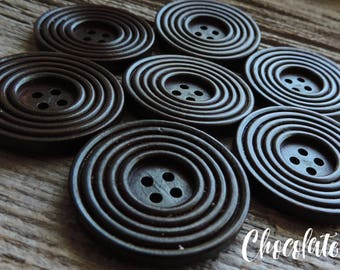 """Solid Wood Chocolate Color Ringed Button 