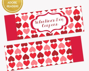 Printable Love Coupons - Valentine's Day Coupon Book - Birthday Gifts for Him or Her - Love Vouchers - DIY Coupons - Naughty Vouchers -
