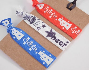 Cheerleading Hair Ties - Cheerleading Gift - Red White Blue - Gift for Coach - Gift for Girl - Inventory Reduction - SALE
