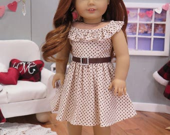"""Newly Released! 18 Inch Doll Dress - Cream Spring Easter Doll Dress - American Made 18 Inch Doll Clothes - 18"""" Doll Summer Dress"""