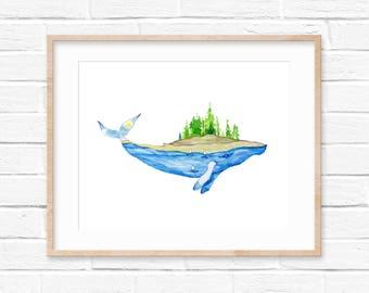 Whale Print, Nature, Whale Decor, Nautical, Whale Nursery, Landscape, Watercolor,Explore, Animal Print, Humpback Whale, Watercolor Whale