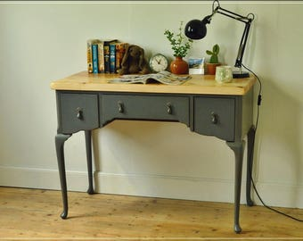 desk writing laptop table dressing table Paris Grey finised  shabby chic distressed reclaimed top