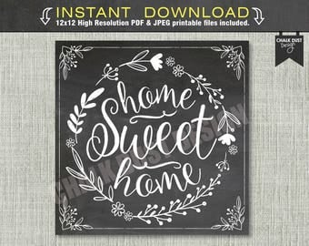 Home Sweet Home floral, boho Chalkboard sign, poster. 12x12 high resolution - Instant download. Home decor, housewarming gift