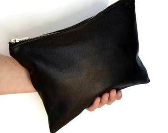 Leather clutch / large leather pouch / leather purse / black leather bag / super soft genuine leather / recycled / large black clutch