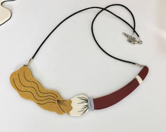 Gold Paint Brush Statement Necklace