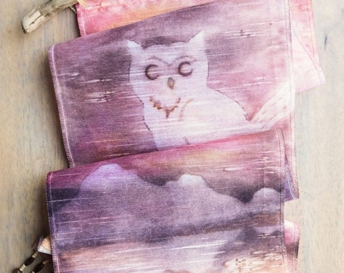 SALE Owl Decor-Watercolor Silk Tapestry-Gift