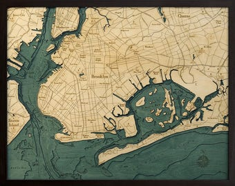 Brooklyn, NY Wood Carved Topographic Depth Map
