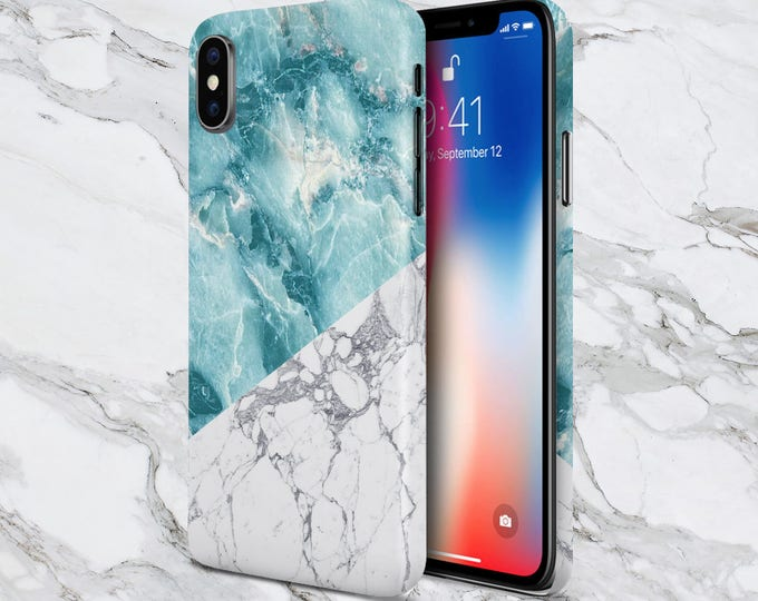 Featured listing image: iPhone X case - iPhone 8 Plus - Protective iPhone Case - Galaxy s8 case - Google Pixel 2 Case - Geometric Teal x White Marble Phone Case