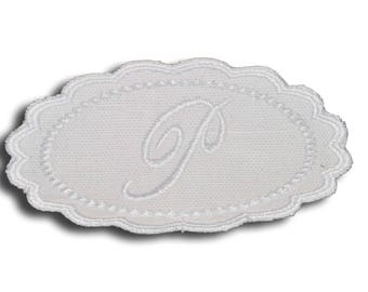 "Embroidery patch ""Letter P"" Monogram white"