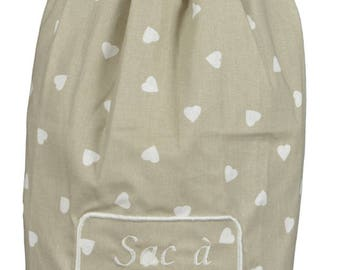 """Bag """"Bags"""" fabric """"Unbleached hearts"""""""