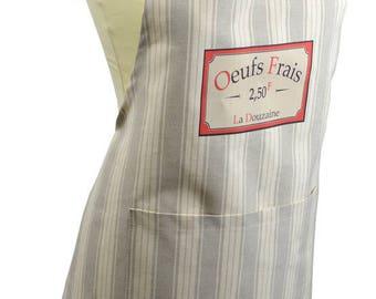 Ecru fabric stripes H.85cmcm apron
