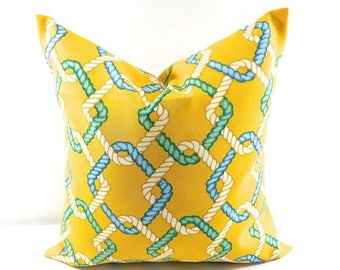 SALE Outdoor Pillow Cover. Cape Cod Summer. Yellow. Beach Decor. Stain U0026