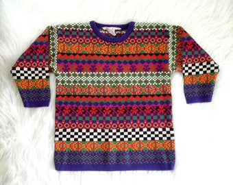 Vintage 1990's Children's Sweater / 90's Hanna Andersson Girls Sweater / Pink, Red, Green, Yellow, Black & White