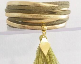 Multi strand cords khaki spring gold leather Cuff Bracelet was