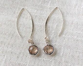 Blush earrings, bridesmaids earrings, handmade, crystal earrings, sterling silver earrings, wedding earrings, crystal drop earrings