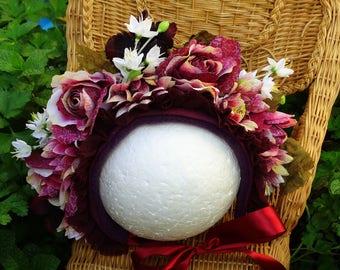 Rhubarb Beauty- Floral Bonnet #RTS