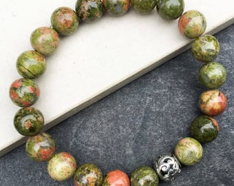 Women's unakite bracelet, boho bracelet, yoga mala beaded bracelet, gemstones stretch bracelet, gift for woman, Wildcoastjewels