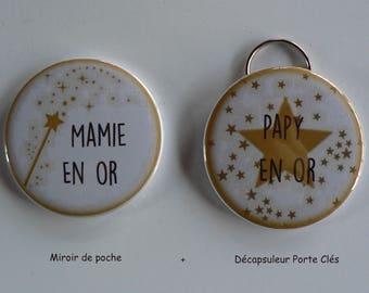 Duo Cadeau Parrain Marraine en Or Décapsuleur Porte Clés Confettis.