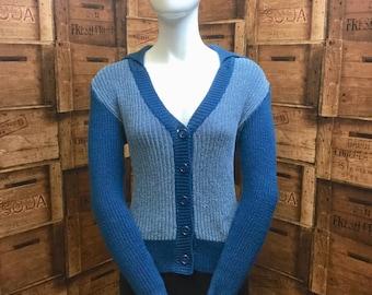 Dereta italian knit cardigan, vintage knitwear, vintage cardigan, 1980s italian knitwear, multi blue cardigan, vintage cosy winter woolly