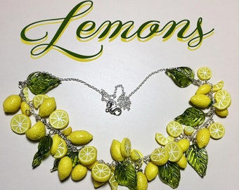 Retro 1950s Inspired Lemon Necklace Pinup Rockabilly Jewelry