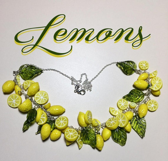 50s Jewelry: Earrings, Necklace, Brooch, Bracelet Retro 1950s Inspired Lemon Necklace Pinup Rockabilly JewelryRetro 1950s Inspired Lemon Necklace Pinup Rockabilly Jewelry $40.00 AT vintagedancer.com