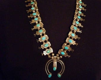 Vintage Sterling Silver with Turquoise Box Bow Squash Blossom Necklace Navajo Pearls Bench Beads Naja