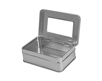 "Rectangular Empty Hinged Tin Box Containers With Clear Hinged Top. (1 Unit, Clear Window Top: 4.12"" X 2.75"" X 1.38"")"