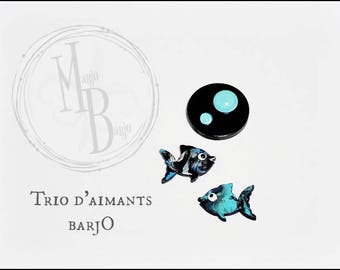 Trio of magnets to freak fish and bubbles plate