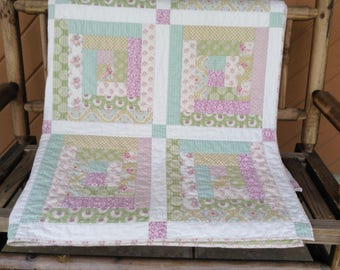 Hand sewn Apple Bloom Log Cabin Quilt, Tilda fabrics