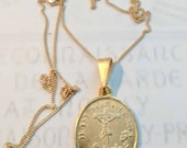Necklace - Saint Mary Magdalene at Foot of Cross 19x22mm - 18K Gold Vermeil + 18 inch 18K Gold Vermeil Chain