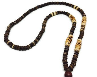 Thai Hand made Necklace,Coconut Shell Wooded Bead Hand Craft Made Vintage.Necklace Amulet