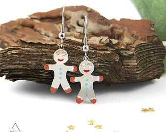 Stainless steel earrings Cookie, an enchanted Christmas present